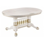 Деревянный стол Кантри молочный с золотой патиной (LM)