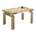 Стеклянный стол Давос бежевый мрамор / дуб монтана (LM)