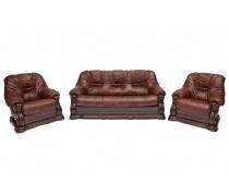 Трехместный кожаный диван GOLZMAYER (коричневый)