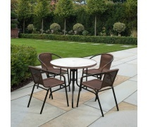 Комплект мебели Николь-1A TLH-037AR3/080RR-D80 Cappuccino (4+1) (AM)