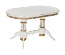 Деревянный стол Женева молочный с золотой патиной (LM)