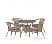 Комплект плетеной мебели Лион-1B T220CT/Y32-W56 Light brown 4Pcs (AM)