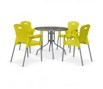 Комплект мебели для кафе TD90/XRF065BY-Yellow (4+1) (AM)
