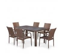 Комплект плетеной мебели T51A/Y376-W773-150x85 6Pcs Brown (AM)