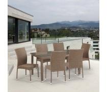 Комплект плетеной мебели T256B/Y380B-W56 Light Brown 6Pcs (AM)