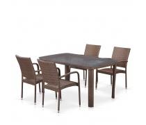Комплект плетеной мебели T51A/Y376-W773-150x85 4Pcs Brown (AM)