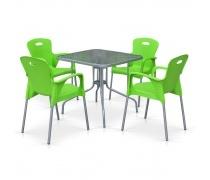 Комплект мебели для кафе TL80x80/XRF065BG-Green (4+1) (AM)