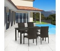 Комплект плетеной мебели T256A/Y379A-W53 Brown 4Pcs (AM)