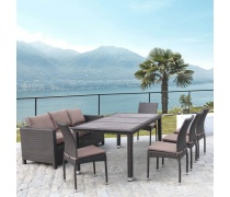 Комплект плетеной мебели T347/S65A/Y380A-W53 Brown (8+1) (AM)