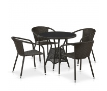 Комплект плетеной мебели T707ANS/Y137C-W53 4Pcs Brown (AM)