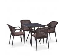 Комплект мебели из иск. ротанга T282BNT/Y35B-W2390 Brown (4+1) (AM)
