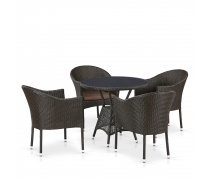 Комплект плетеной мебели T707ANS/Y350-W53 4Pcs Brown (AM)