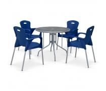 Комплект мебели для кафе TD90/XRF065BB-Blue (4+1) (AM)