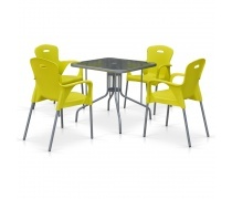 Комплект мебели для кафе TL80x80/XRF065BY-Yellow (4+1) (AM)