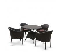 Обеденный комплект плетеной мебели T190A/Y350A-W53 Brown (4+1) (AM)