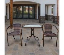 Комплект мебели Асоль-2B TLH-037BR2/060SR-60х60 Brown (2+1) (AM)
