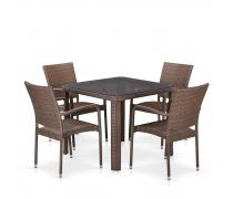 Комплект плетеной мебели T341B/Y376-W773-90x90 4Pcs Brown (AM)