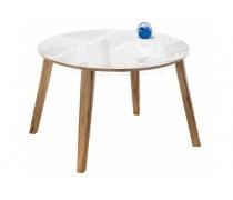 Стеклянный стол Семвэлл белый / дуб монтана (LM)