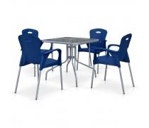 Комплект мебели для кафе TL80x80/XRF065BB-Blue (4+1) (AM)