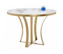 Стеклянный стол Нейтон белый мрамор / золото (LM)