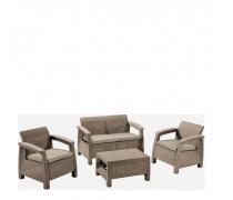 Комплект мебели с диваном Yalta 2set AFM-1020B Beige/Cappuccino (имитация ротанга) 4Pcs (AM)