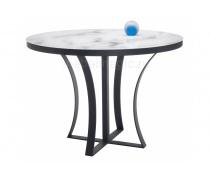 Стеклянный стол Нейтон белый мрамор / графит (LM)