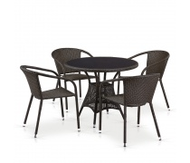 Комплект плетеной мебели T197ANS-W53/Y137C-W53 Brown 4Pcs (AM)