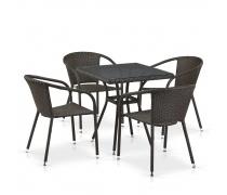 Комплект плетеной мебели T282BNT/Y137C-W53 Brown 4Pcs (AM)