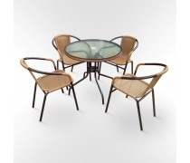Комплект мебели  Николь-1LB TLH-037С-TLH080RR-D80 Light Beige (4+1) (AM)