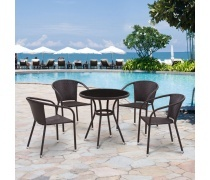 Комплект плетеной мебели T282ANS/Y137C-W53 Brown 4Pcs (AM)