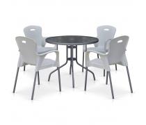 Комплект мебели для кафе TD90/XRF065BW-White (4+1) (AM)
