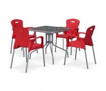 Комплект мебели для кафе TL80x80/XRF065BR-Red (4+1) (AM)