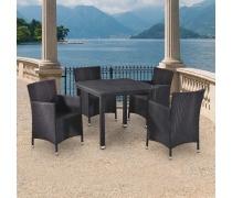 Комплект плетеной мебели T246ST/Y189D-W5 Black 4Pcs (AM)