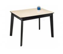 Стеклянный стол Арья сливочно-кремовый / венге (LM)