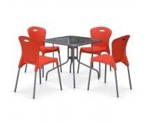 Комплект мебели для кафе TL80x80/XRF065AO-Orange (4+1) (AM)