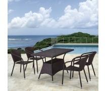 Комплект плетеной мебели T198D/Y137C-W53 Brown 4Pcs (AM)