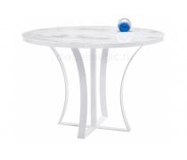 Стеклянный стол Нейтон белый мрамор / белый (LM)