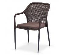 Плетеный стул Y35B-W2390 Brown с подушкой (AM)
