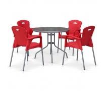 Комплект мебели для кафе TD90/XRF065BR-Red (4+1) (AM)
