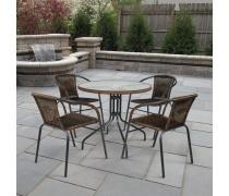 Комплект плетеной мебели Николь-1B TLH-037BR2/080RR-D80 Brown (4+1) (AM)