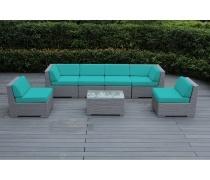 Плетеный модульный диван YR822BM Beige/Mint (AM)