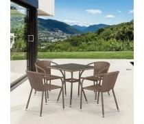 Комплект плетеной мебели T282BNT/Y137C-W56 Light Brown 4Pcs (AM)