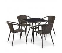 Комплект плетеной мебели T282BNS/Y137C-W53 Brown 4Pcs (AM)