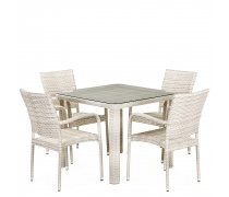 Комплект плетеной мебели T341A/Y376A-W85-90x90 4Pcs Latte (AM)