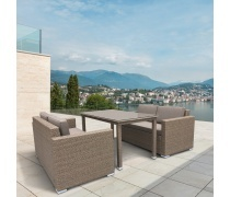 Комплект плетеной мебели T256B/S52B-W56 Light brown (AM)