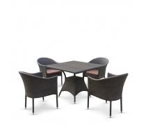 Обеденный комплект плетеной мебели T190B/Y350A-W53 Brown (4+1) (AM)