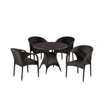 Комплект плетеной мебели T190AD/Y290B-W52 Brown 4Pcs (AM)