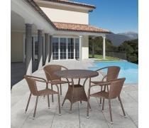 Комплект плетеной мебели T197AT/Y137C-W56 Light brown 4Pcs (AM)