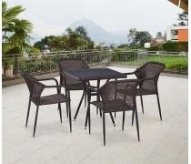 Комплект плетеной мебели T282BNT/Y35-W2390 Brown 4Pcs (AM)
