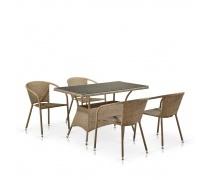 Комплект мебели из иск. ротанга T198D/Y137C-W56 Light Brown (4+1) (AM)